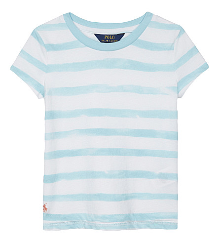 RALPH LAUREN Watercolour striped cotton T-shirt 2-6 years (Turq+blue/whi