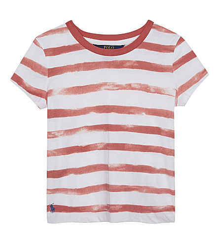 RALPH LAUREN Watercolour striped cotton T-shirt 2-6 years (Salmon+berry/wh