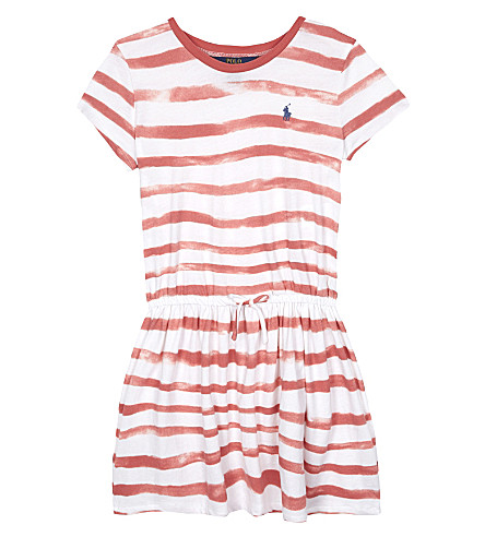 RALPH LAUREN Watercolour striped cotton T-shirt dress 2-6 years (Salmon+berry/wh