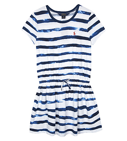 RALPH LAUREN Watercolour striped cotton T-shirt dress 2-6 years (Indigo+blue/whi