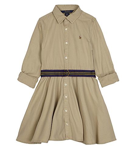 RALPH LAUREN Belted cotton shirt dress 2-6 years (Classic+khaki