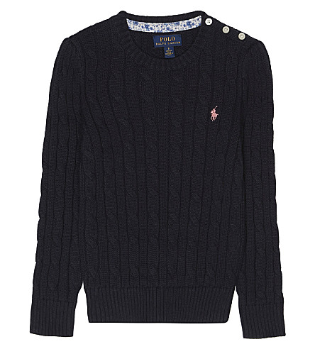RALPH LAUREN Cable-knit logo jumper 2-6 years (Hunter+navy