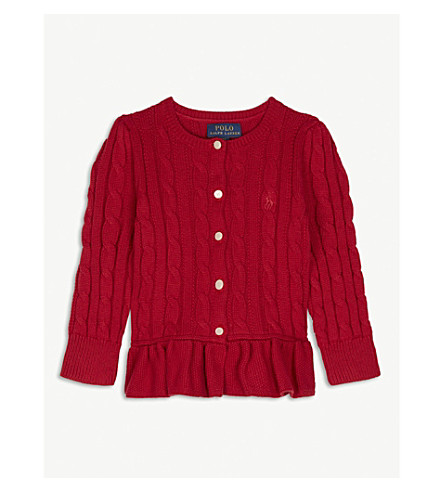 RALPH LAUREN Cable-knit peplum cotton cardigan 2-4 years (Red
