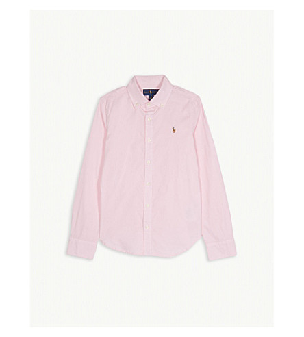 RALPH LAUREN Ruffled cotton Oxford shirt 2-6 years (Deco+pink