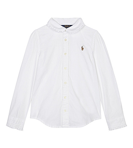 RALPH LAUREN Frilled cotton Oxford shirt 2-6 years (White
