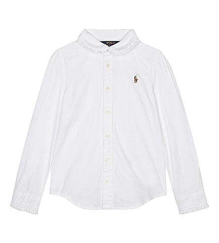 RALPH LAUREN 皱棉牛津衬衣2-6 年 (白色
