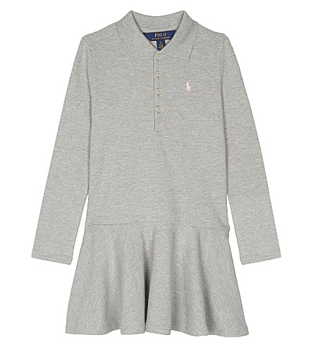 RALPH LAUREN Cotton long-sleeved polo dress 2-6 years (Andover+heather