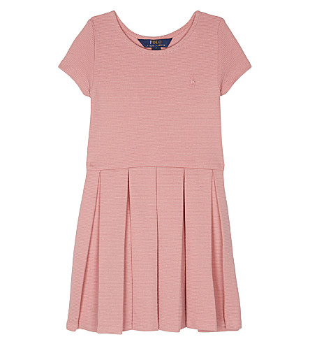 RALPH LAUREN Pleated ribbed cotton dress 2-6 years (Petal