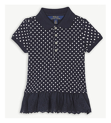 RALPH LAUREN Dot mesh stretch-cotton polo dress 2-4 years (Navy/white