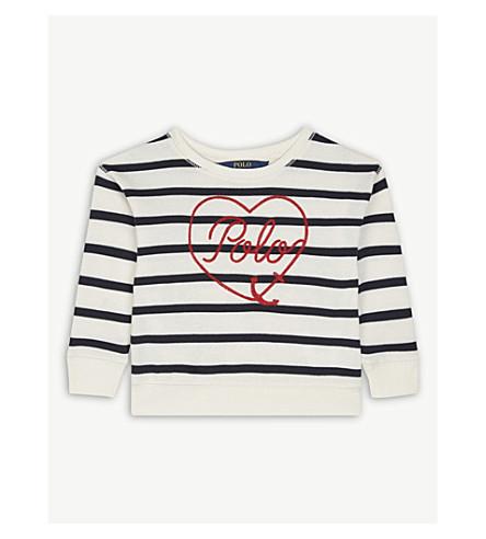 RALPH LAUREN Heart logo cotton-blend jumper 2-4 years (Cream/navy