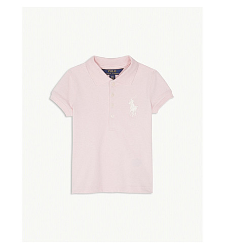 RALPH LAUREN Big logo cotton-blend polo shirt 2-4 years (Hint+of+pink