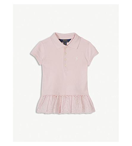 RALPH LAUREN Eyelet hem cotton-blend polo shirt 2-4 years (Hint+of+pink