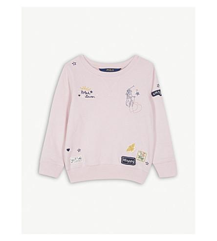 RALPH LAUREN Embroidered cotton-blend sweatshirt 2-4 years (Hint+of+pink