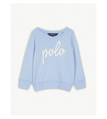 RALPH LAUREN Logo cotton-blend crew sweatshirt 2-4 years (Elite+blue