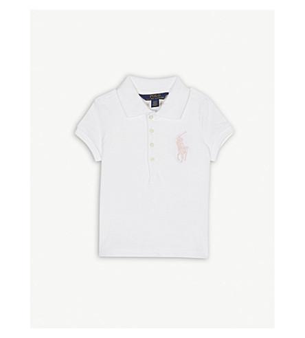 RALPH LAUREN Logo pique cotton polo shirt 2-6 years (White