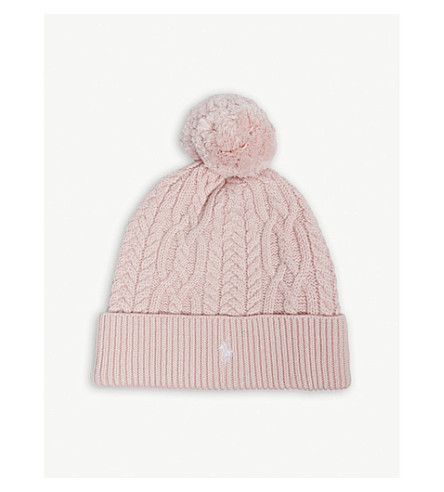 RALPH LAUREN Pony cable-knit pompom beanie (Hint+of+pink