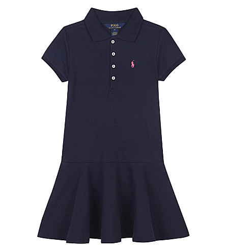 RALPH LAUREN Pony stretch-cotton polo dress 5-6 years (French+navy