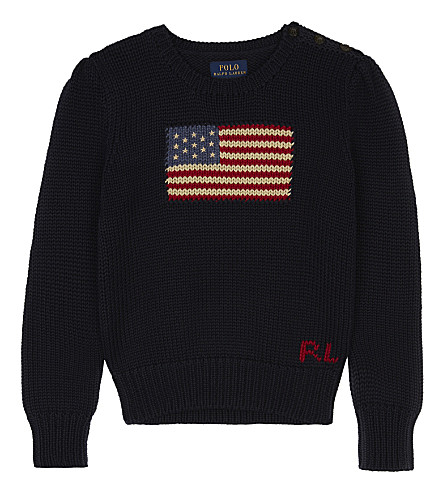 RALPH LAUREN American flag knitted cotton jumper 5-6 years (Lt+indigo