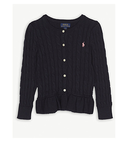 RALPH LAUREN Cable knit cotton peplum cardigan 5-6 years (Navy