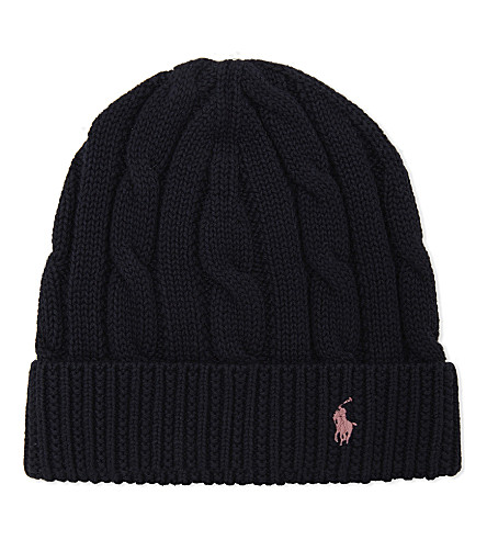 RALPH LAUREN Slouchy cable-knit cotton beanie (Hunter+navy