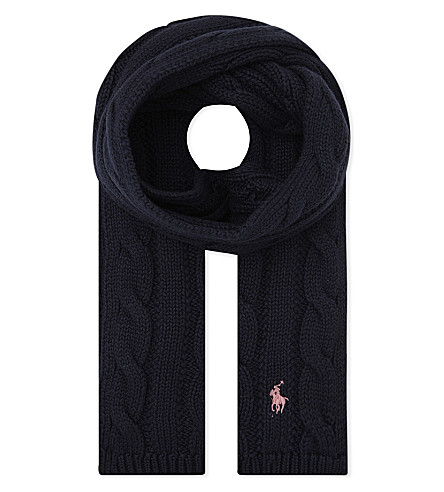 RALPH LAUREN Pony cable-knit cotton scarf (Hunter+navy