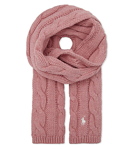 RALPH LAUREN Pony cable-knit cotton scarf (Rugby+pink