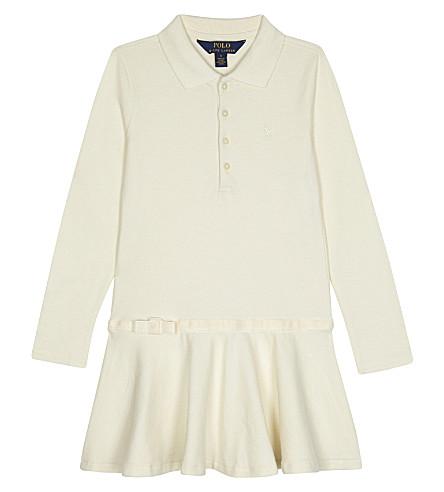 RALPH LAUREN Logo cotton long-sleeved polo dress 2-6 years (Olympia+cream