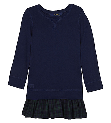 RALPH LAUREN Ruffled-hem fleece dress 2-6 years (Holiday+navy