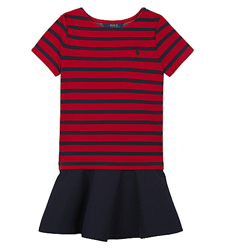 RALPH LAUREN Stripe ponte dress 5-6 years (Navyred