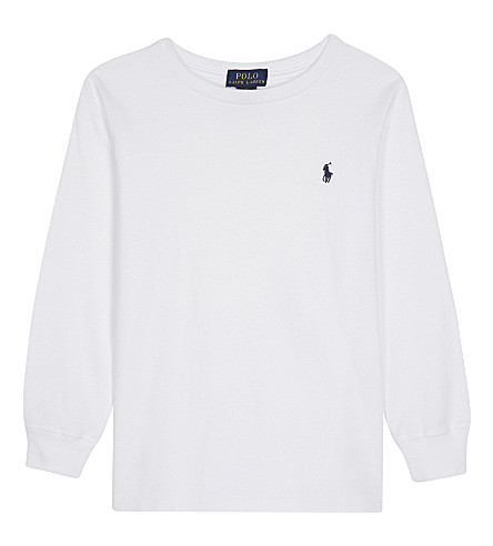 RALPH LAUREN Pony cotton long-sleeved top 7-14 years (White