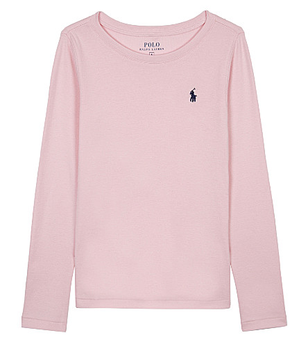RALPH LAUREN Long-sleeved cotton-blend T-shirt 7-14 years (Carmel+pink