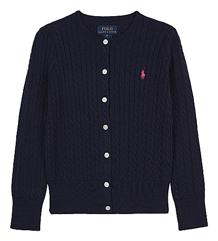 RALPH LAUREN Cable-knit cotton cardigan 7-14 years (French+navy