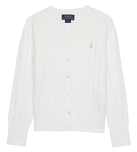 RALPH LAUREN Cable-knit cotton cardigan 7-14 years (White