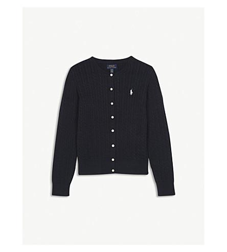 RALPH LAUREN Cable-knit cotton cardigan S-XL (Hunter+navy