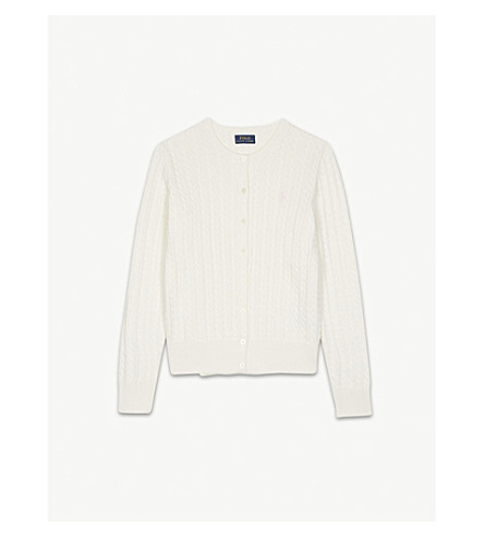 RALPH LAUREN Mini cable-knit cotton cardigan (Warm+white