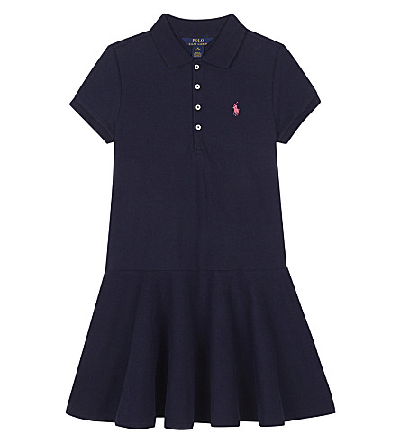 RALPH LAUREN Pony stretch-cotton polo dress 7-14 years (French+navy
