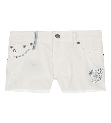 RALPH LAUREN Embroidered denim shorts 7-16 years (Bethann+wash