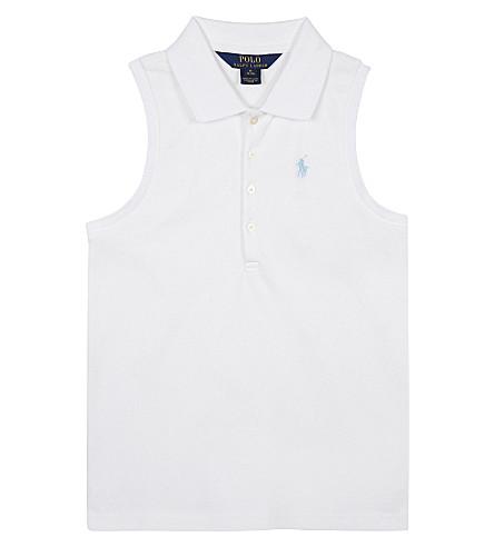 RALPH LAUREN Sleeveless cotton-blend polo shirt 7-14 years (White