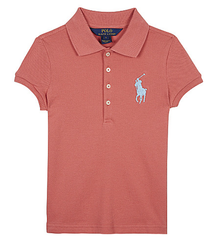 RALPH LAUREN Big Pony piqué cotton polo shirt 6-14 years (Salmon+berry