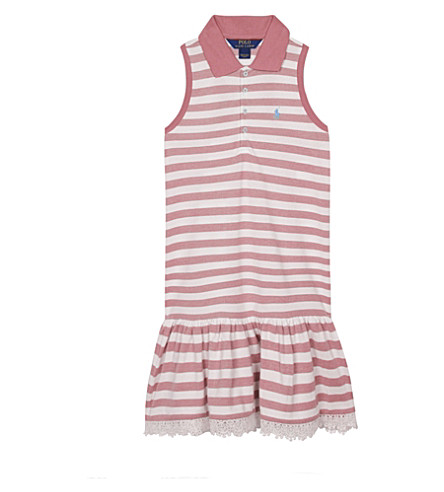RALPH LAUREN Striped cotton polo drop hem dress 7-14 years (Salmon+berry/wh