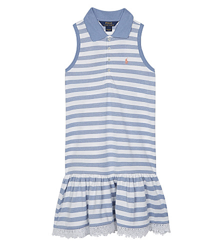 RALPH LAUREN Striped cotton polo drop hem dress 7-14 years (French+blue/whi