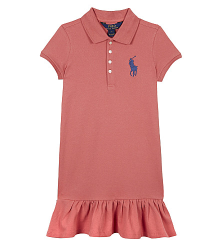 RALPH LAUREN Big Pony cotton-blend dress 7-14 years (Salmon+berry