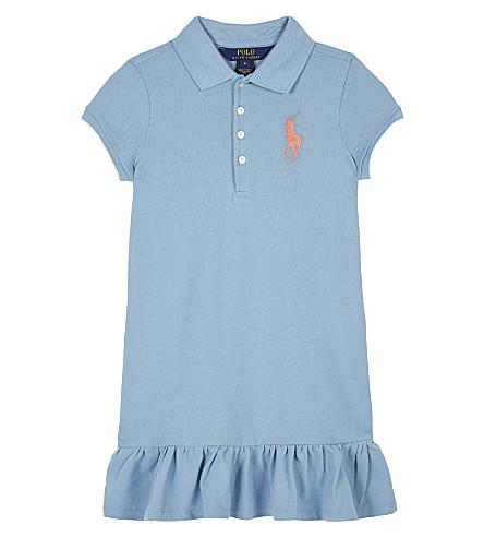 RALPH LAUREN Big Polo Pony cotton-blend dress 7-14 years (Bolivian+blue