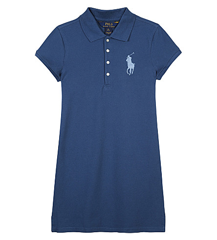 RALPH LAUREN Big Polo Pony cotton-blend dress 7-14 years (Indigo+blue+xwd5t
