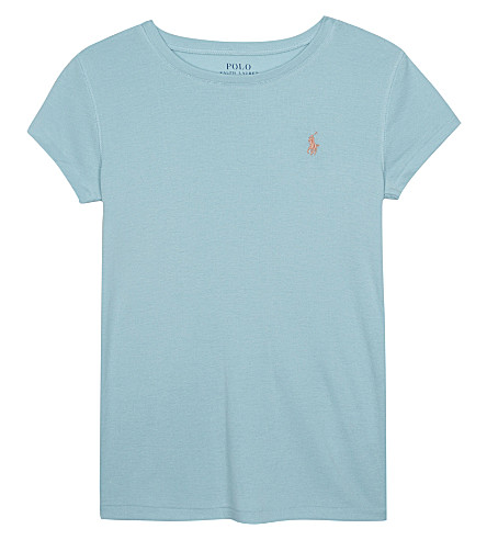 RALPH LAUREN Logo cotton & modal T-shirt 7-16 years (Dusty+turquoise