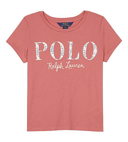 RALPH LAUREN Paisley logo cotton T-shirt 7-14 years (Salmon+berry