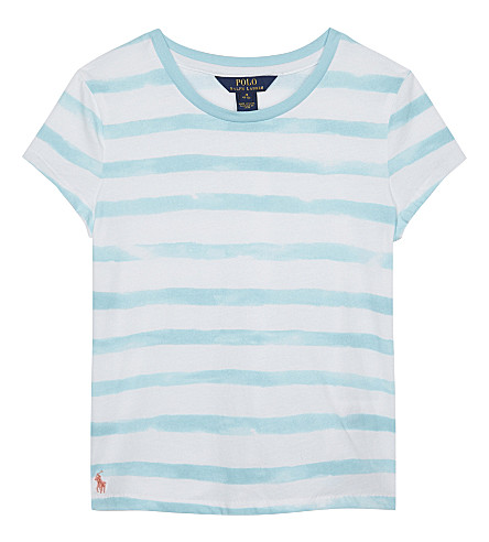 RALPH LAUREN Watercolour striped cotton T-shirt 7-16 years (Turq+blue/whi