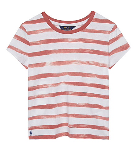 RALPH LAUREN Watercolour striped cotton T-shirt 7-16 years (Salmon+berry/wh