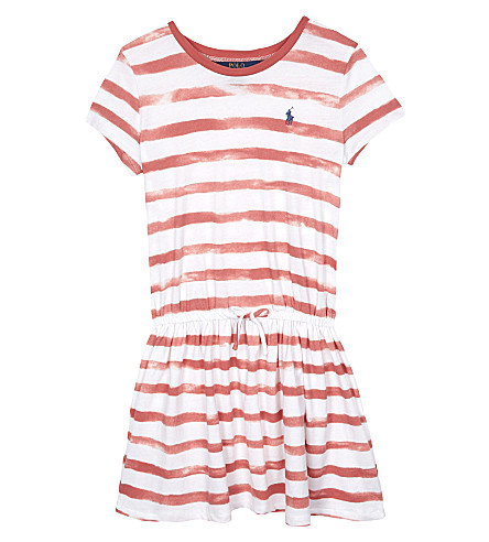 RALPH LAUREN Watercolour striped cotton T-shirt dress 7-16 years (Salmon+berry/wh