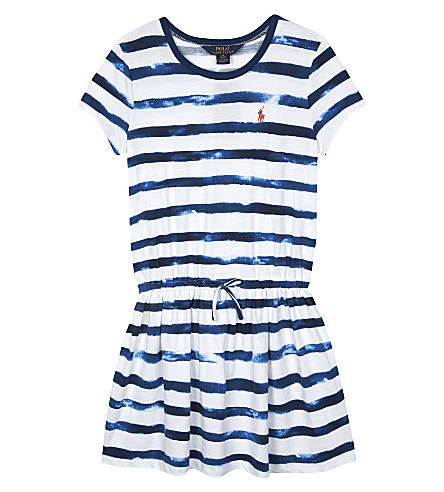 RALPH LAUREN Watercolour striped cotton T-shirt dress 7-16 years (Indigo+blue/whi